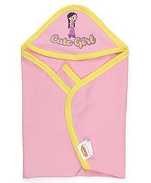 Chhota Bheem Hooded Towel Cute Girl Print - Pink