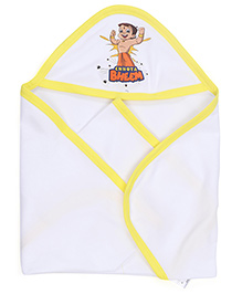 Chhota Bheem Printed Hooded Towel - Yellow White