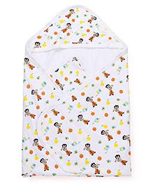 Chhota Bheem Printed Hooded Towel - White