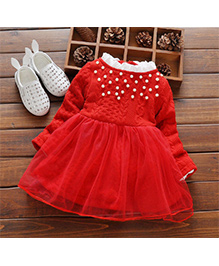 Tickles 4 U Fit & Flare Winter Party Dress With Pearls  -  Red
