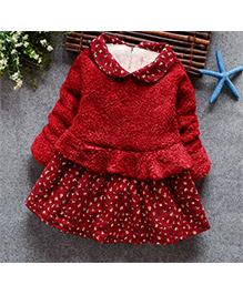 Tickles 4 U  Warm Peplum Winter Dress - Red