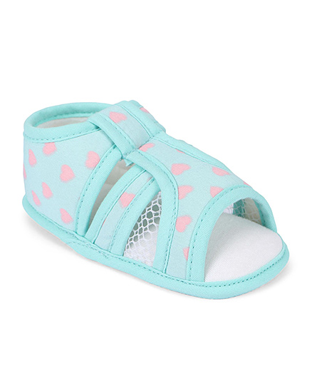 D'chica Dot Printed Sandals For Baby Girls - Blue
