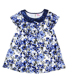 Teeny Tantrums Sequenced Collar Floral Print Dress - Blue