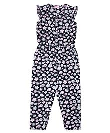 Teeny Tantrums Floral Print Corduroy Jumpsuit - Charcoal Black