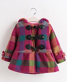 Pre Order - Superfie Woolen Buttoned Style Dress - Purple