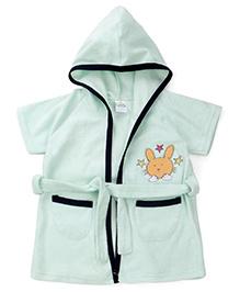 Babyhug Half Sleeves Hooded Bathrobe Animal Embroidery - Light Green