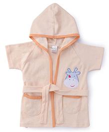 Babyhug Half Sleeves Hooded Bathrobe Hippo Embroidery - Peach