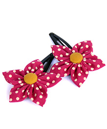 Pigtails And Ponys Polka Dot Print Flower Hair Clips - Pink & White