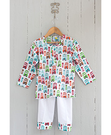 Frangipani Kids Traffic Jam Print Tee & Pyjama Set - White