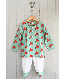 Frangipani Kids Scooty Rally Print Tee & Pyjama Set - Green