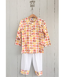 Frangipani Kids Elephant Park Print Tee & Pyjama Set - Orange