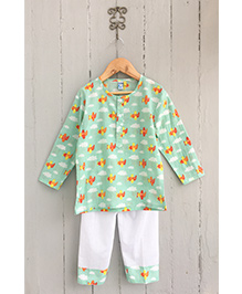 Frangipani Kids Airplane Print Tee & Pyjama Set - Green
