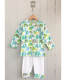 Frangipani Kids Emerald Elephants Print Tee & Pyjama Set - Green