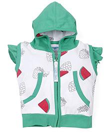 Snuggles Short Sleeves Hooded Top Watermelon Print - Green White