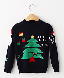 Cherubbaby Christmas Tree With Snowman Print Pullover - Navy Blue