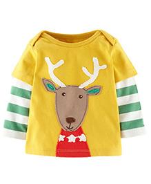 Cherubbaby Reindeer Print Striped Tee - Yellow