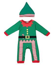 Cherubbaby Christmas Elf Print Romper - Green