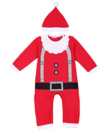Cherubbaby Santa Print Romper - Red