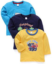 Tango Full Sleeves Printed T-Shirt Set Of 3 - Blue Navy Yellow