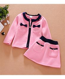 Cherubbaby Bow Applique Top & Skirt Set - Pink