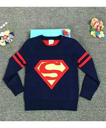 Cherubbaby Superhero Print Sweater - Navy Blue