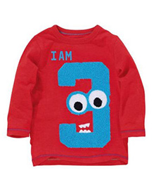 Cherubbaby T-Shirt With Number 3 Print - Red