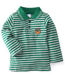 Tango Collar Neck Striped T-Shirt My Car Patch - Green