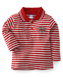 Tango Collar Neck Striped T-Shirt My Car Patch - Red