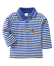 Tango Collar Neck Striped T-Shirt My Car Patch - Royal Blue