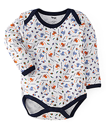 Tango Full Sleeves Onesies Allover Sea Animals Print - White & Navy Blue