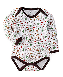 Tango Full Sleeves Onesies Allover Sea Animals Print - White & Brown