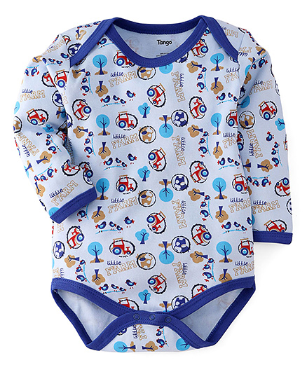 Tango Full Sleeves Onesie Farm Print - Blue