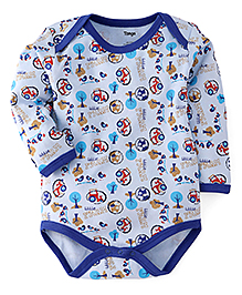 Tango Full Sleeves Onesies Allover Farm Print - Light Blue