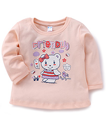 Tango Full Sleeves T-Shirt Teddy With Bow Print - Peach