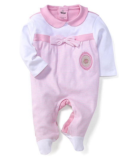 Tango Full Sleeves Footed Romper With Peter Pan Collar - Pink & White
