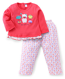 Tango Full Sleeves Top And Legging Kitty Print - Coral
