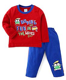 Tango Full Sleeves Printed T-Shirt And Track Pant Set - Red & Royal Blue