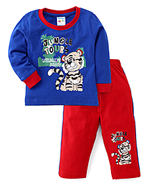 Tango Full Sleeves Printed T-Shirt And Pants - Blue Red