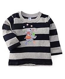 Tango Full Sleeves Striped T-Shirt Circus Fun Print - Navy & Grey