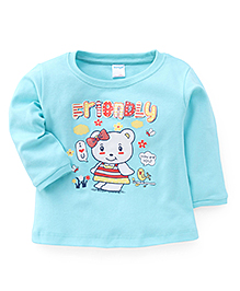 Tango Full Sleeves T-Shirt Teddy With Bow Print - Aqua Blue
