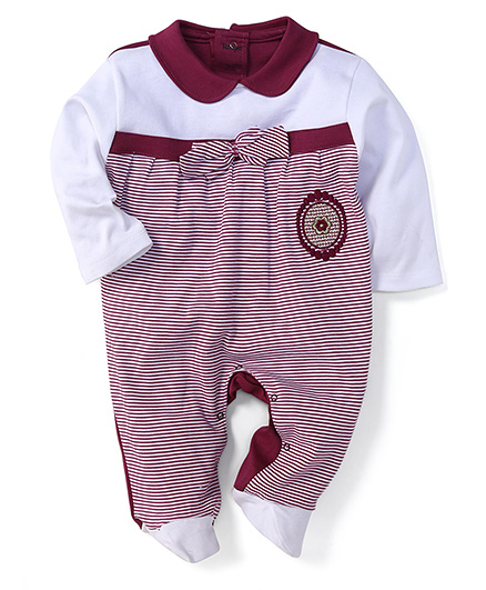 Tango Full Sleeves Footed Romper With Peter Pan Collar - Purple & White