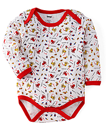 Tango Full Sleeves Onesies Allover Sea Animals Print - White & Red