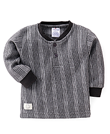 Ollypop Full Sleeves Pinstripe Winter Wear T-Shirt - Black & Grey