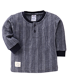 Ollypop Full Sleeves Pinstripe Winter Wear T-Shirt - Navy & Grey