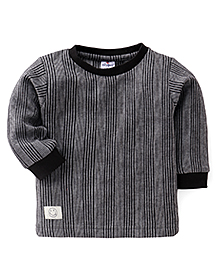 Ollypop Full Sleeves Winter Wear T-Shirt - Black & Grey