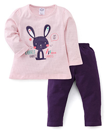 Simply Full Sleeves Dotted Top With Bunny Print And Leggings Set - Light Pink