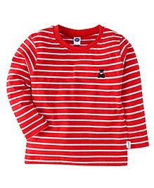 Teddy Full Sleeves Stripe T-Shirt - Red
