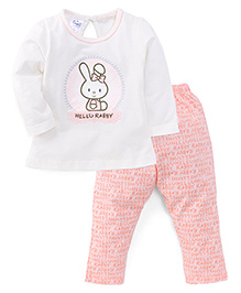 Simply Full Sleeves Top With Hello Rabby Print And Leggings Set - White & Peach
