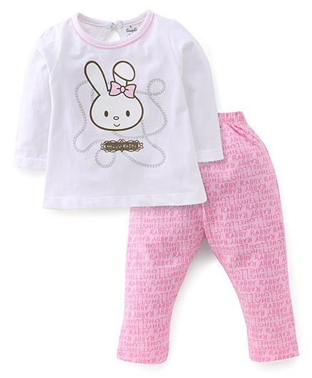 Simply Full Sleeves Top With Hello Rabby Print And Leggings Set - White & Pink