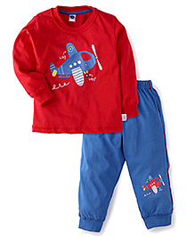Teddy Full Sleeves T-Shirt And Bottom Set With Airplane Print - Red & Blue